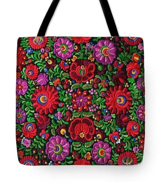Tote Bag Hungarian Magyar Folk Embroidery Matyo by closencounters