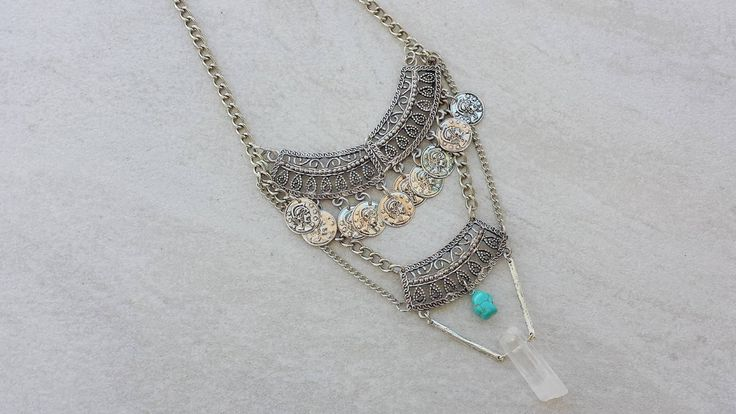 Modern Gypsy Statement Necklace, Raw Quartz Crystal, Turquoise Stone, Boho Chic…