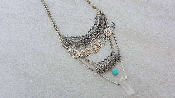 Modern Gypsy Statement Necklace, Raw Quartz Crystal, Turquoise Stone, Boho Chic…