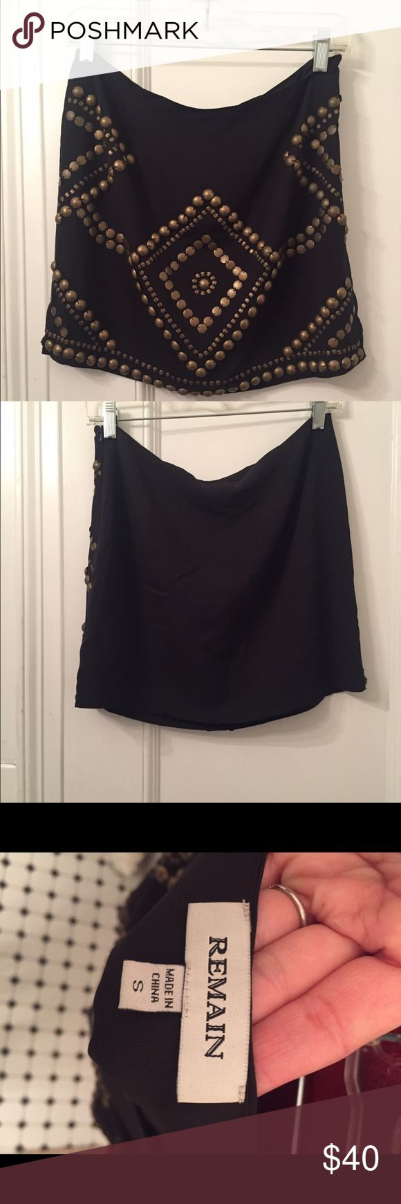 Lack embellished mini skirt Size Small Super cute black mini skirt with embellished. Skirt has a silky feel to it. Perfect for a night out! Skirts Mini