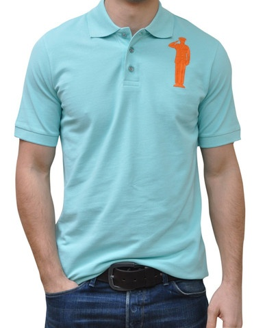 Sky Blue Polo. 100% Organic Cotton. 3 button placket. Bold Embroidery Front & Back.  Model 6' ft, waist 31 wearing Small Bold Polo. Order online: http://www.el-capitano.com/collections/polos/products/sky-blue