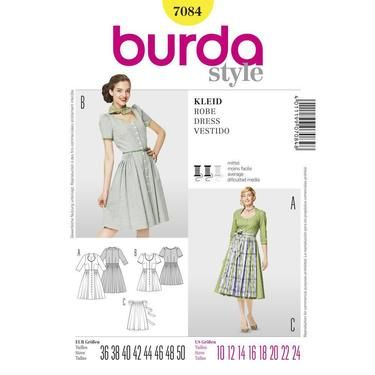 Burda 7084 Women's Dress  10 - 24