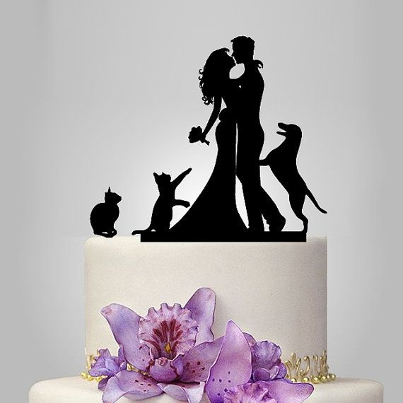 family wedding cake topper with dog and 2 cats by walldecal76