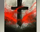 Abstract Canvas Art Painting - 18x24 Contemporary Modern Original Cross Art by Destiny Womack - dWo - Forgiven