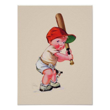 Baseball Poster Little Boy With Bat - vintage gifts retro ideas cyo