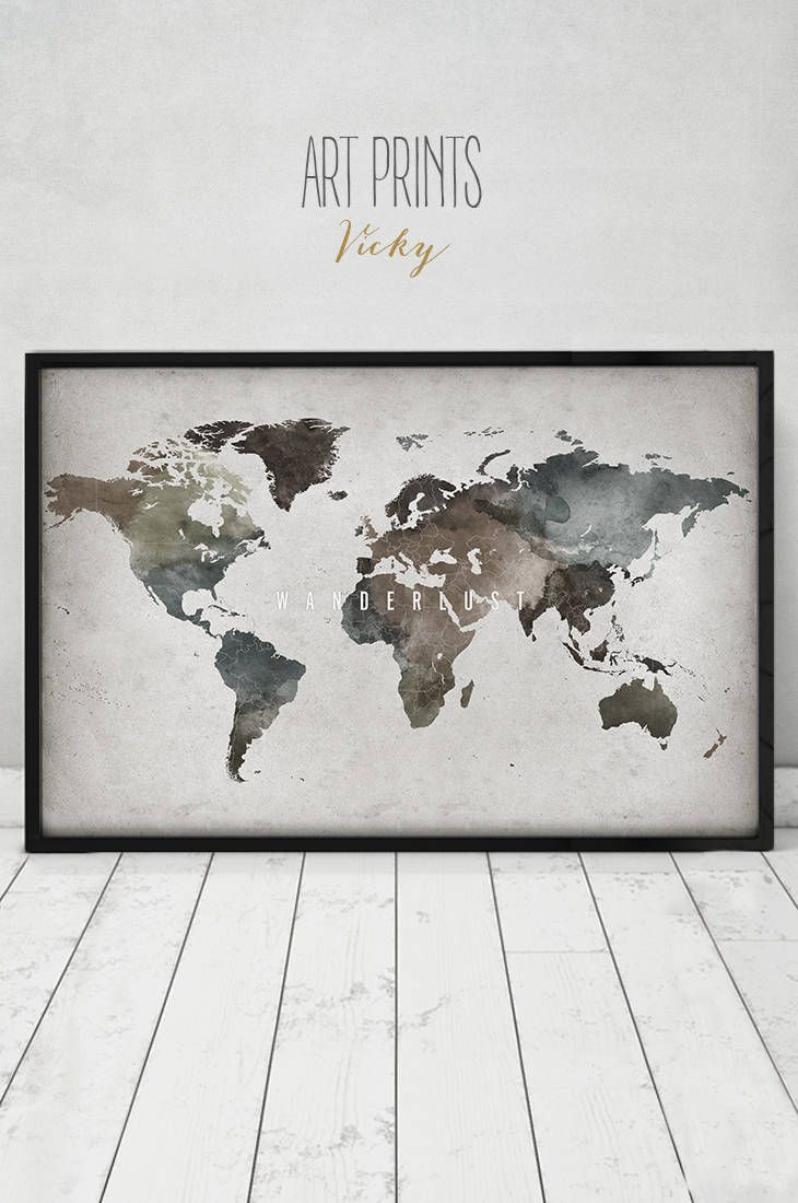 110 best watercolor maps images on pinterest map posters world wanderlust world map art world map print world map poster travel world map gumiabroncs Choice Image