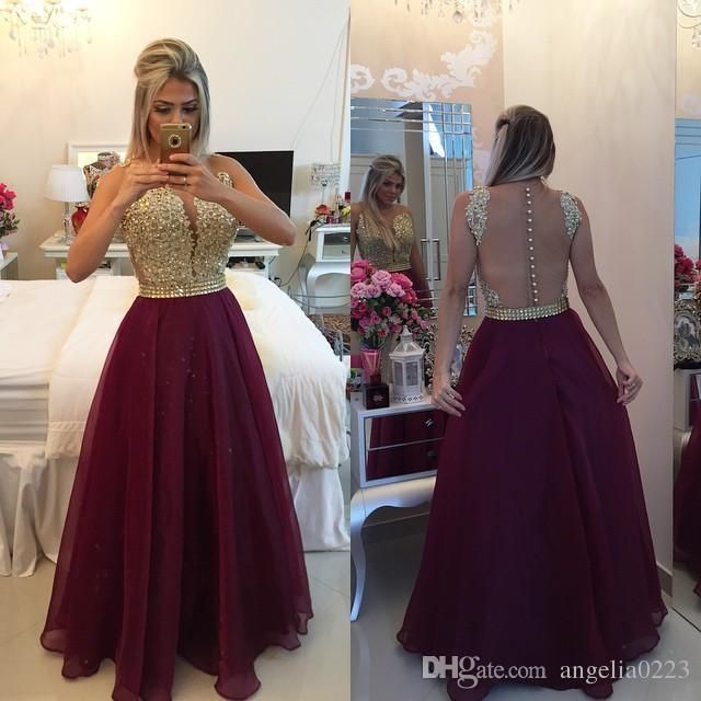 2016 New Burgundy Organza Prom Dresses A Line Gold Top Beaded Sleeveless Empire Sheer Back Evening Formal Dresses Party Gowns Prom Dresses For Children Prom Dresses Juniors From Angelia0223, $190.15  Dhgate.Com