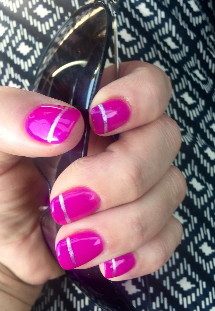 Nails | no chip | shade of pink with a silver stripe | summertime | acrylic nails | nail design | #hairsprayandhighheels #christyle55 | manicure