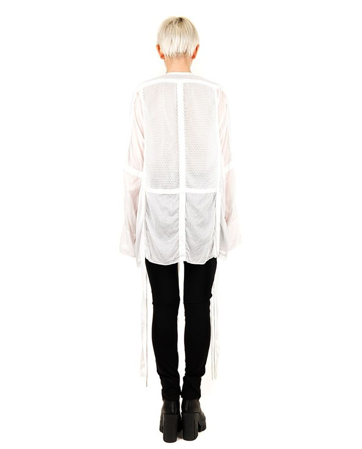 DI LIBORIO Liborio Red Label  white shirt  round neck  long sleeves puffed  hanging strings side  plot honeycomb  100% CO