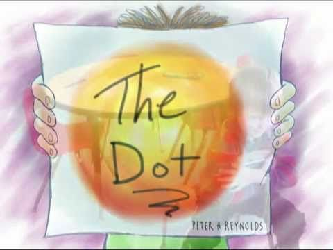 "A kindergarten class put together this interpretation of Peter Reynolds' book ""The Dot."" The kids made their own artworks, selected their own props, posed themselves based on the artwork in the book, took the pictures with a digital camera, and read the text themselves! (3:38)"