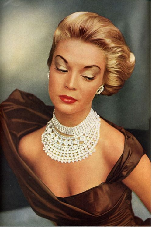 Jean Patchett in layered rhinestone necklaces & choker. Photo by John Rawlings, Vogue UK, August, 1951.