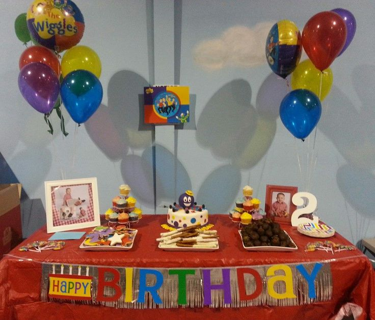 The Wiggles Birthday party. Cake table. Henry the Octopus cake, Wiggles cookies.
