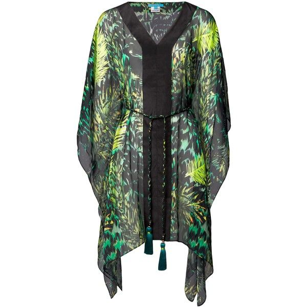 Tiger Palm Emerald Silk Kaftan ($425) ❤ liked on Polyvore featuring tops, tunics, summer tunics, silk caftan, silk tunic, emerald green tunic and evening tops