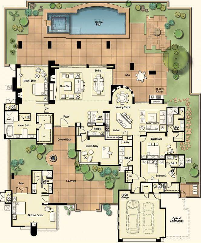 Hacienda style homes floor plans for Small hacienda house plans