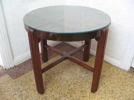 $90 Perfect Timber ROUND TABLE Display Lamp Table GLASS TOP 51cm Text 0411691171 or email info@bitspencer.com