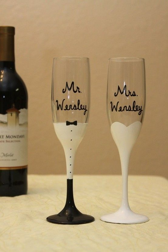 his and her wedding glasses at the wedding :)