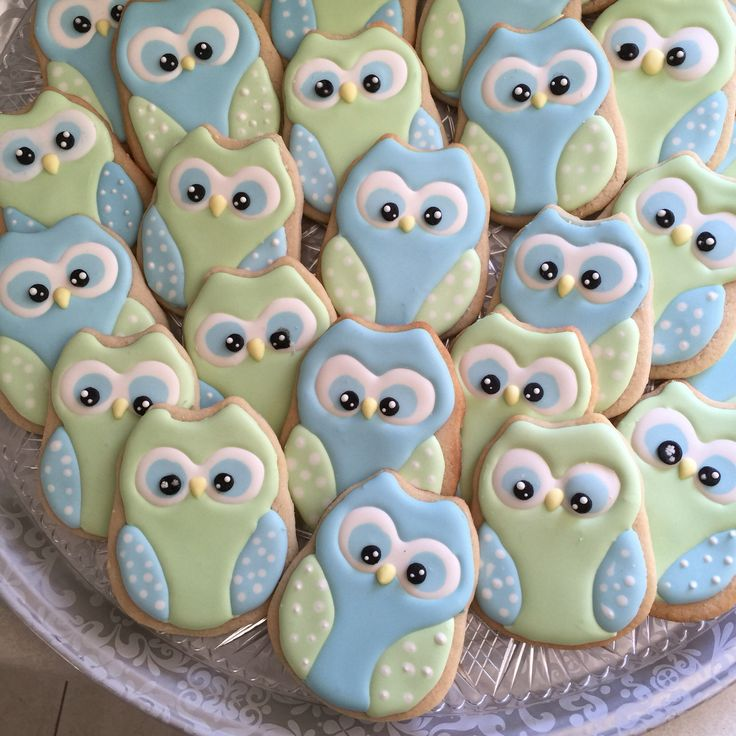 Owl cookies I made for baby shower .