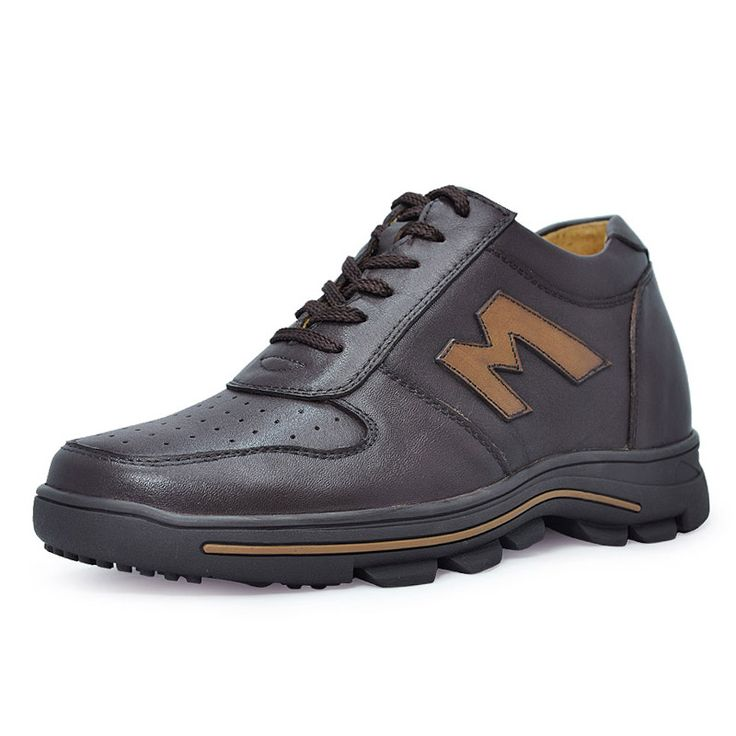 Dark brown  shoes that make men taller 8cm / 3.15inch with the SKU:MENJGL_B773 - Fashion style casual leather height increasing elevator shoes tall 8cm / 3.15 inch height