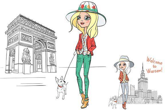 Set hipster girl tourist Graphics Fashionable hipster girl tourist in boots and hat with cute dog in Paris. Fashionable hipster gir by kavalenkava