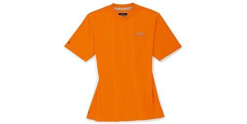 Camiseta naranja. Cómoda y llamativa. Algodón puro de alta calidad. En vistoso naranja STIHL. Con dos logotipos STIHL® TIMBERSPORTS® impresos. Material: 100% algodón