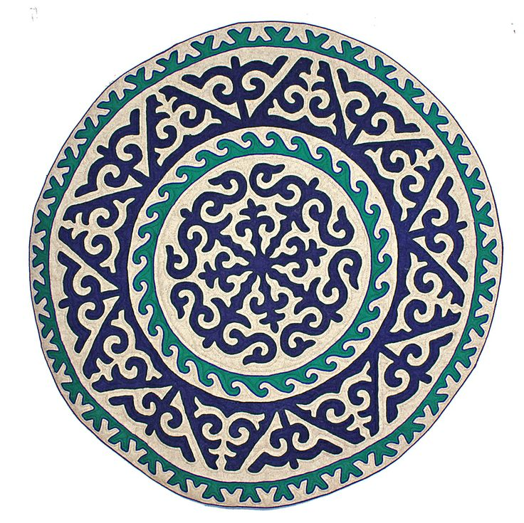 Circular Shyrdak rug from Felt in navy blue, turquoise and white, 2m diameter feltrugs.co.uk