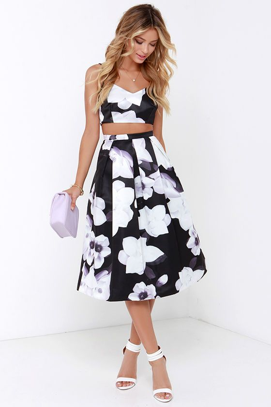 Casting Shadows Black Floral Print Two-Piece Dress at Lulus.com!