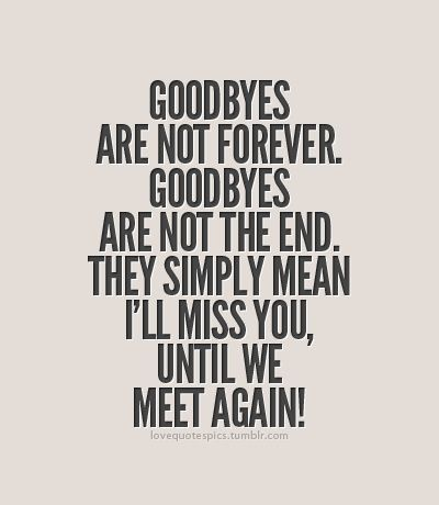 Goodbyes are not forever. Goodbyes are not the end. They simply mean Ill miss you, until we meet again!