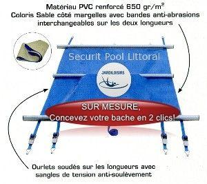 Couverture à barres APF Securit Pool Littoral SUR MESURE - Bache à barres sur mesure - Sécurité Piscine