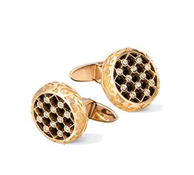 Carrera y Carrera Sierpes cufflinks Seda Imperial collection Cufflinks in yellow gold, onyx and diamonds