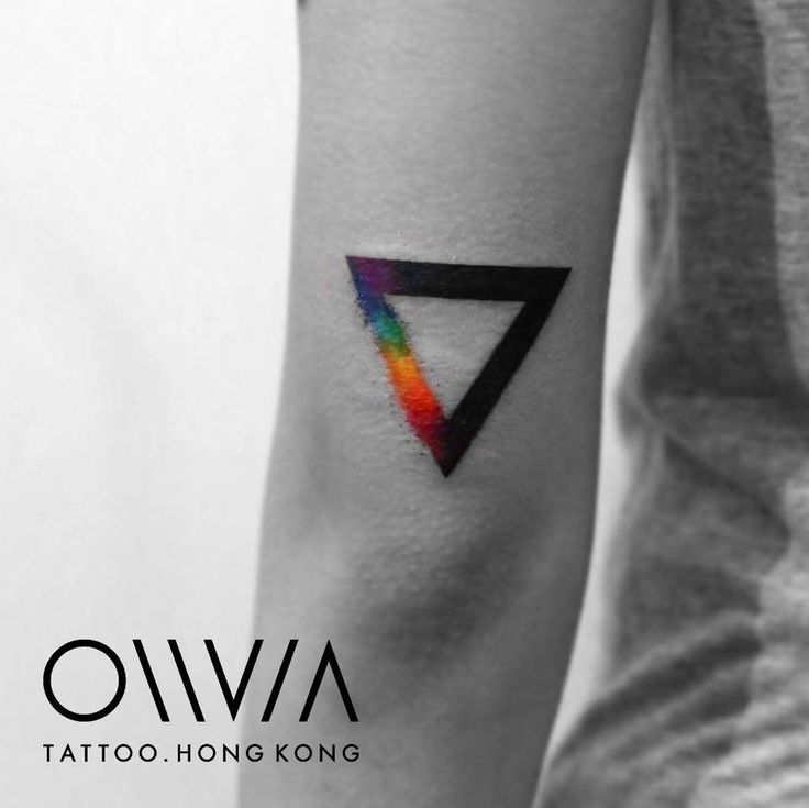 Rainbow triangle tattoo on the left tricep.