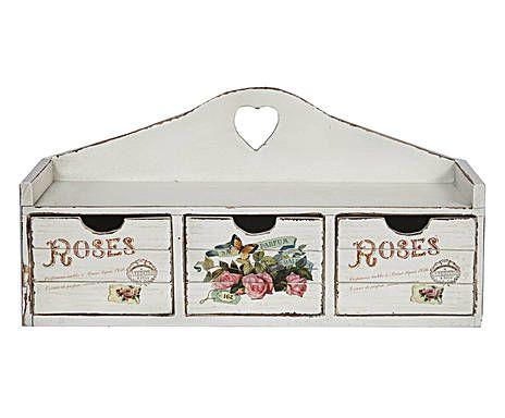 CUISINE PROVENZALE: Mensola in legno di abete con 3 cassetti bianco - 48x24x16 cm