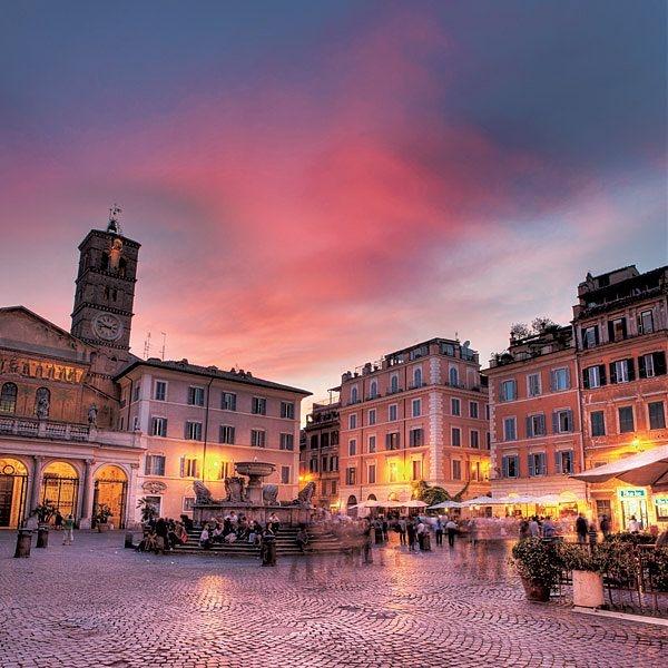 Piazza Santa Maria in Trastevere, Rome, province of Rome, Lazio region italy