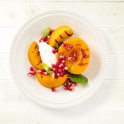 ALDI België - Recept - Gegrilde perzik met mascarpone en granaatappel
