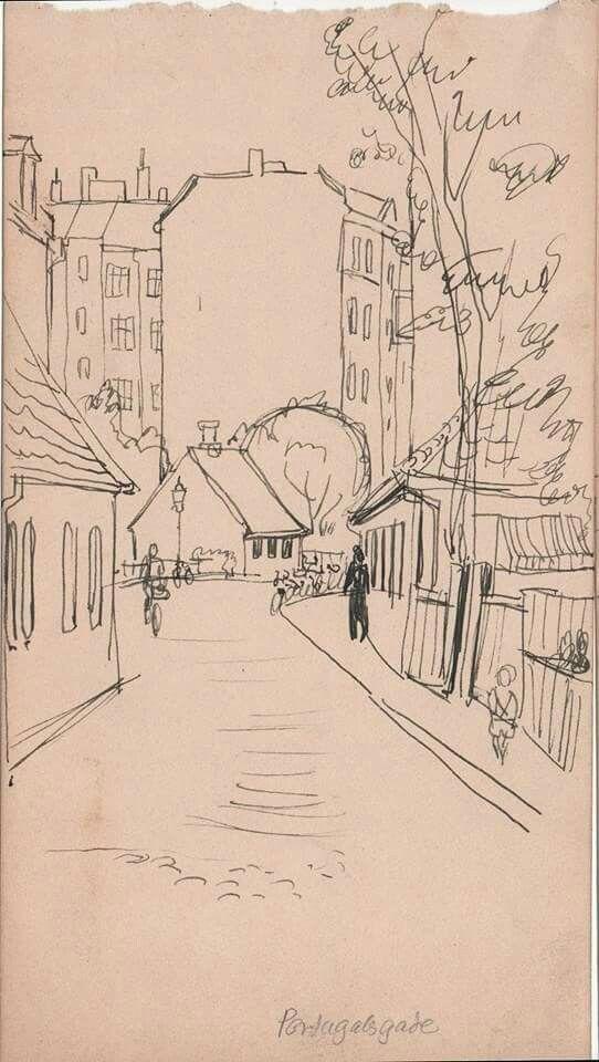 Portugalsgade 1945-1950. Skitse af Ib K. Olsen