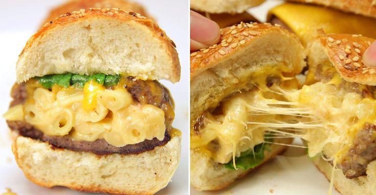 Macaroni and Cheese stuffed burgers