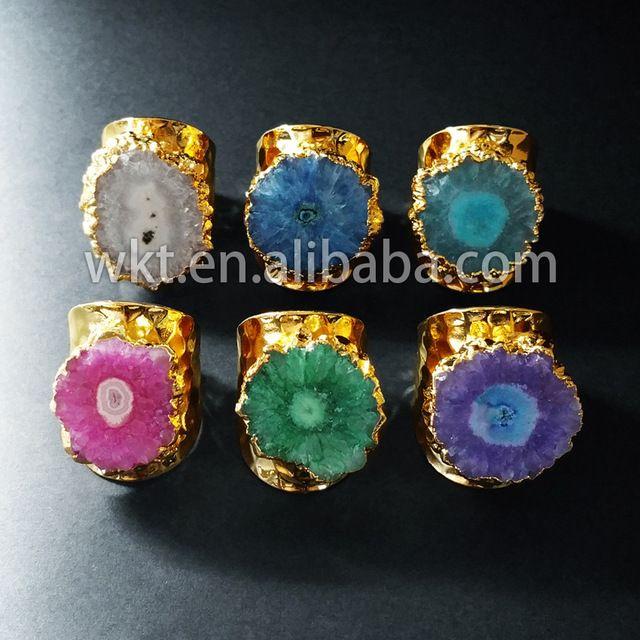 Hot moda cristal de quartzo estalactite anéis flor 24 k ouro galvanizados quartz pedra natural anéis