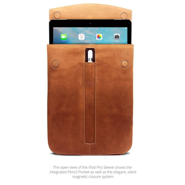The Gold Standard in sleeve design. Professional, protective, innovative. That's our Leather iPad Pro Sleeve. For 12.9 or 9.7 * Features - Custom designed and hand crafted specifically for the iPad Pr