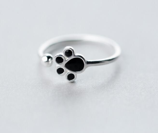 Real. 925-Sterling-Silver Black Enamel Puppy Dog Paw &Lucky Bead Ring jewelry adjustable GTLJ1126