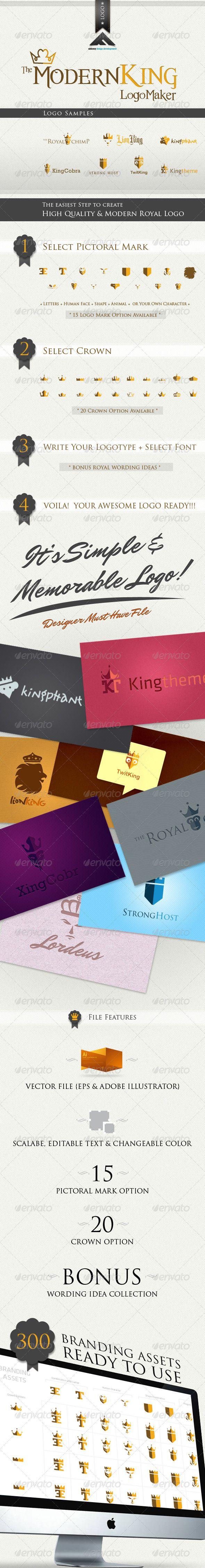 Modern King Logo Kit  — EPS Template #illustrator logo #Letter Logo • Download ➝ https://graphicriver.net/item/modern-king-logo-kit/512427?ref=pxcr