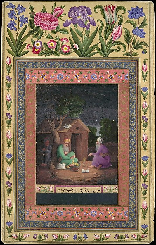 """Two Old Men in Discussion Outside a Hut"", Folio from the Davis Album 'Ali Quli Jabbadar (active 1642–late 17th century) Object Name: Illustrated album leaf Date: dated A.H. 1085/A.D. 1674–75 Geography: Iran Culture: Islamic Medium: Ink, opaque watercolor, and gold on paper"