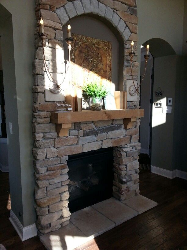 Stacked Stone Fireplace / Like The Framed Opening