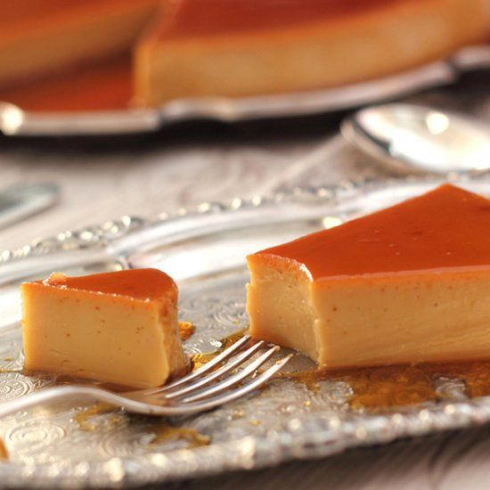 A traditional Spanish coffee flan similar to a Creme Caramel but made with sweetened condensed milk and evaporated milk.