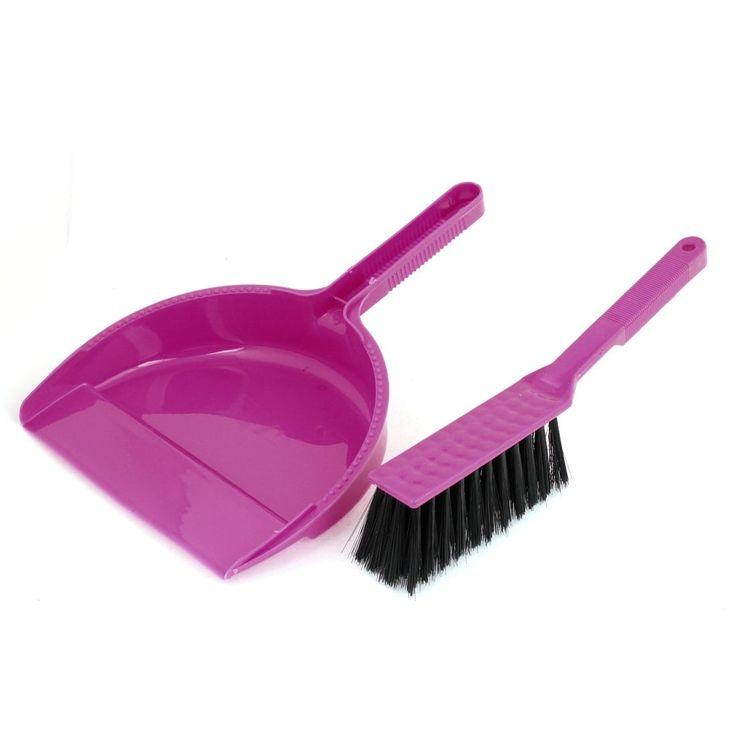 Plastic Brush Sweeping Broom Dustpan Cleaner Set Fuchsia (Pink) Black for PC