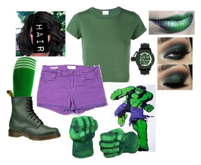 """""""The Female Hulk"""" by vbutler18 ❤ liked on Polyvore featuring Marvel Comics, RE/DONE, Lucky Brand and Dr. Martens"""