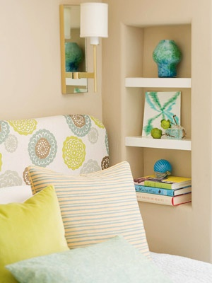 Wall niches for storage in small rooms