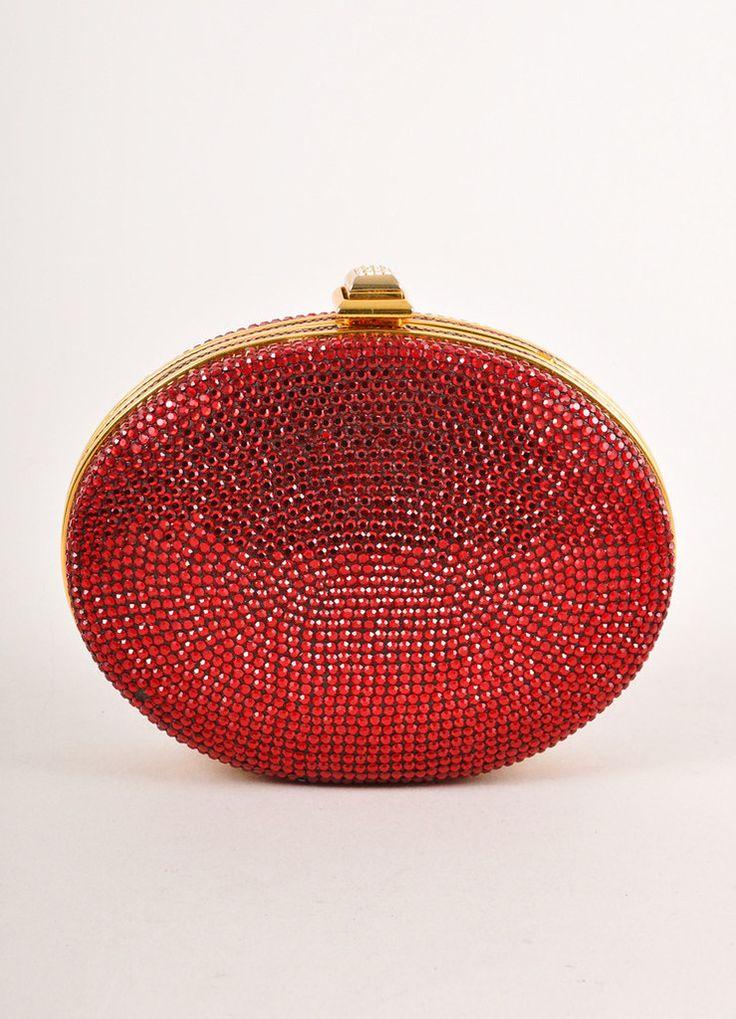 Judith Leiber Dark Red Rhinestone Embellished Oval Minaudière Clutch Bag – Luxury Garage Sale