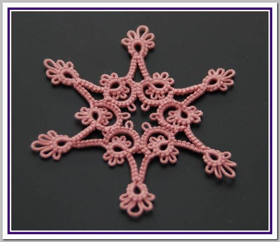 Applique  Pink Tatted Snowflake A003 by JanCrocheted on Etsy, $2.50