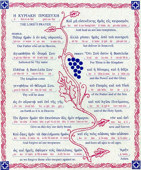"The Lord's Prayer in English and Greek. English text: ""People: Our Father, who art in heaven, hallowed be Thy name. Thy kingdom come, Thy will be done, on Earth as it is in Heaven. Give us this day our daily bread. And forgive us our trespasses, as we forgive those who trespass against us. And lead us not into temptation, but deliver us from evil. Priest: For thine is the Kingdom and the Power and the Glory, of the Father and of the Son and of the Holy Spirit, now and forever and to the Ages…"