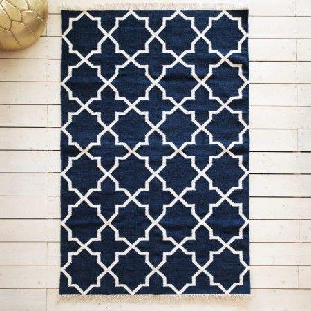 Zeia Navy Tile Rug - Rugs & Animal Skins - Wall & Floors - Home Accessories