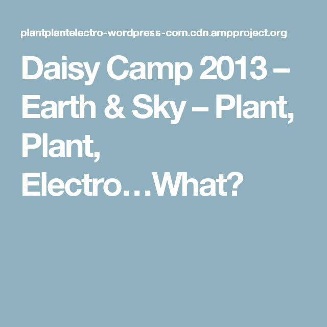 Daisy Camp 2013 – Earth & Sky – Plant, Plant, Electro…What?